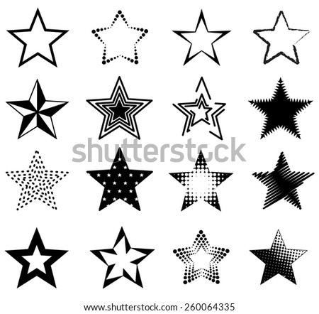 Collection of different shaped stars isolated on white - stock vector