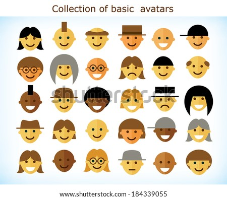 Collection of different simple flat avatars of different ethnic groups - stock vector