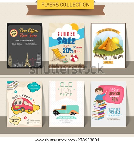 Collection of different stylish flyers of summer sale, tourism, back to school and toy shop purpose. - stock vector