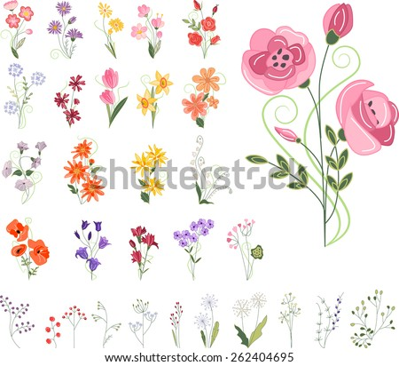 Collection of different stylized flowers - stock vector