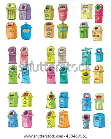 Collection of different trash cans. Organic,batteries,metal,plastic,paper,glass,waste,light bulb,aluminium,food,can,bottle.Vector,recycle bin.Vector. Isolated on white background. Cartoon. - stock vector