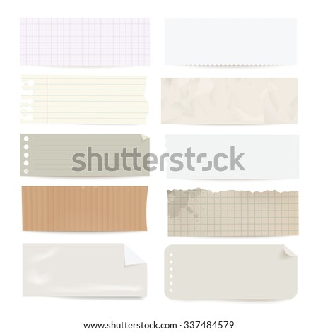 Collection of different vector note paper stripes. - stock vector