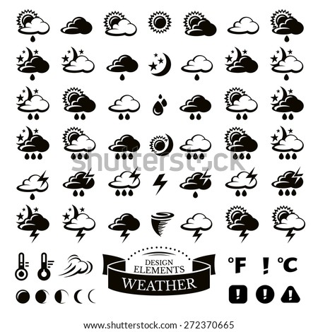 Collection of different weather icons vector illustration - stock vector