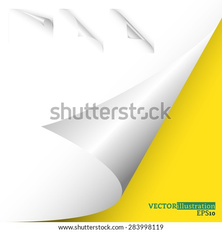 Collection of different white curled corners on the yellow background shadowed. Vector illustration. - stock vector