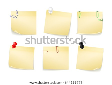 Collection of different yellow stickers for your notes. Attached buttons and staples. Vector illustration isolated on white background.