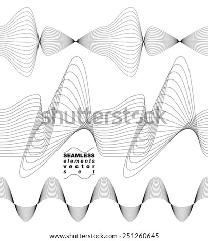 Collection of dimensional motif elegant flowing curves, light background in motion, majestic design seamless backdrop. Curved flexible elements. - stock vector