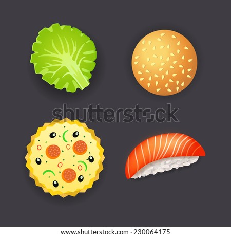 Collection of dinner, pizza, burger, sushi and salad leaf - stock vector