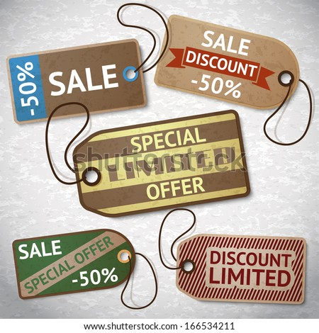 Collection of discount cardboard sale labels vector illustration - stock vector