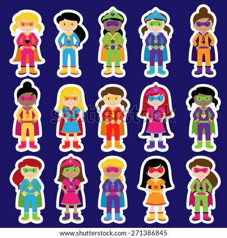 Collection of Diverse Group of Superhero Girls, matching boy superheroes in portfolio