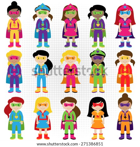 Collection of Diverse Group of Superhero Girls, matching boy superheroes in portfolio - stock vector