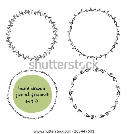Collection of doodle floral frames/ Hand drawn monochrome design elements/ Vector illustration - stock vector