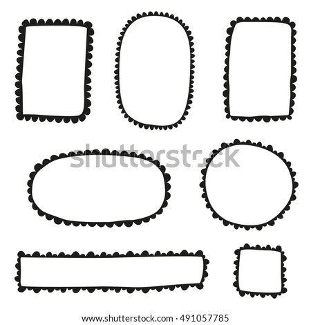 Collection of doodle scalloped frames