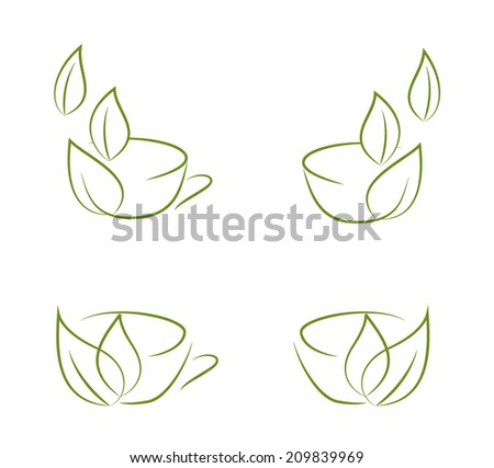 Collection of doodle sketches of green tea cup isolated on white background - stock vector