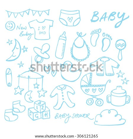 Collection of doodle vector baby icons - stock vector