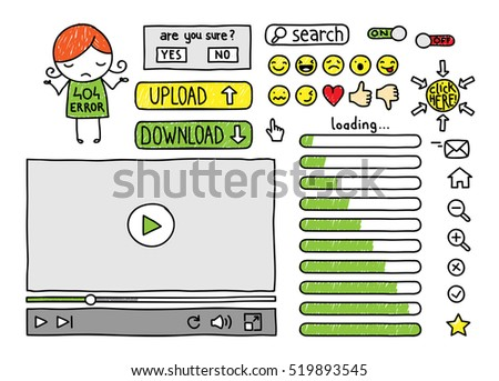 collection of doodle web elements, buttons, icons, emoticons, video player, loading bar and 404 error