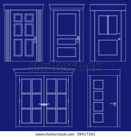 Collection of doors in blueprint vector style - stock vector