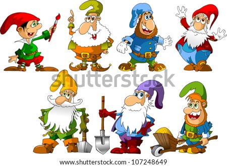 collection of dwarfs of different ages and occupations (illustration) - stock vector