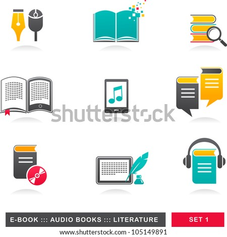 collection of E-book, audiobook and literature icons - 1 - stock vector