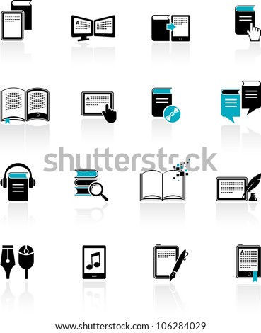 collection of E-book, audiobook and literature icons - stock vector