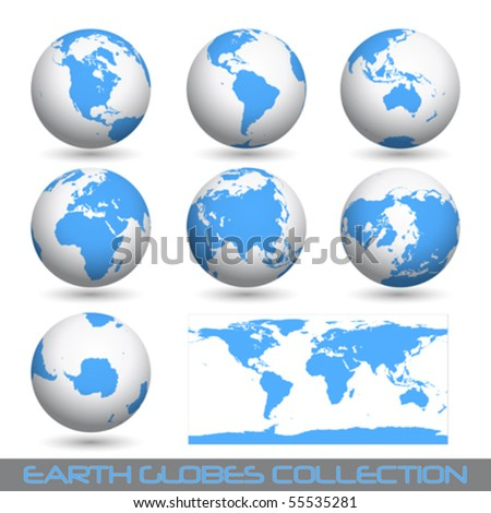 collection of earth globes end a map isolated on white, vector illustration - stock vector