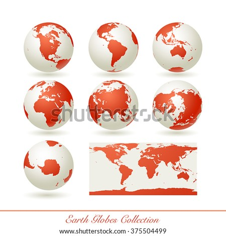 Collection of earth globes isolated on white.  illustration.