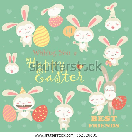 Collection of Easter bunnies with colorful eggs - stock vector