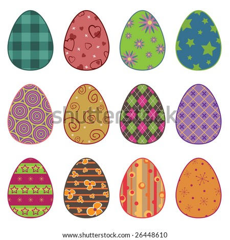 collection of easter eggs with patterns