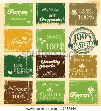 Collection of eco and bio labels - stock vector