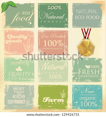 Collection of eco and bio labels retro color - stock vector