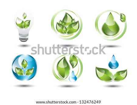 Collection of eco icons, EPS 10, isolated - stock vector
