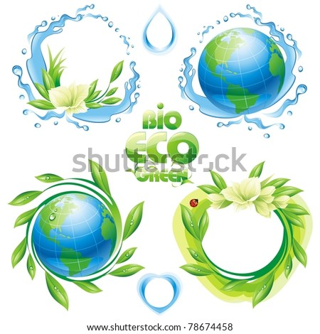 Collection of ecological design elements. Vector illustration. - stock vector