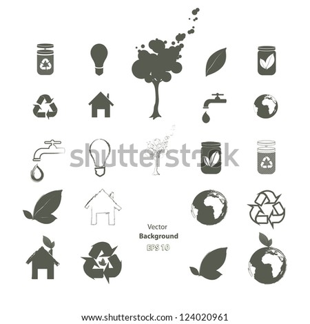Collection of ecological icons. Vector design. - stock vector