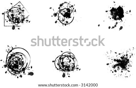 Collection of editable vector ink spills, stains and splashes - stock vector