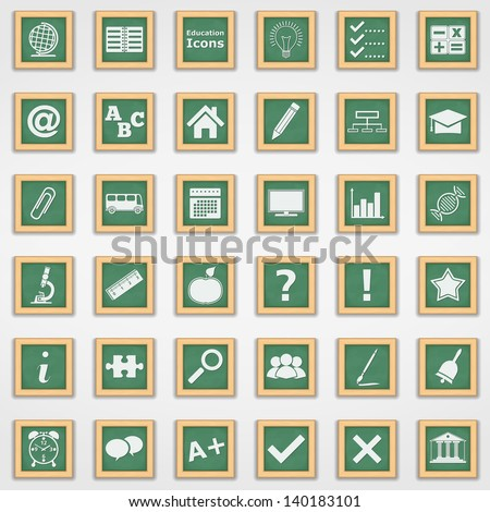 Collection of education icons, vector eps10 illustration