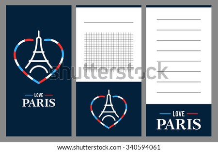 Collection of Eiffel Tower cards, notes, stickers, labels, tags with cute ornament illustrations. Template for scrapbooking, wrapping, notebooks, notebook, diary, decals, school accessories - stock vector