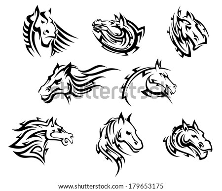 Collection of eight different horse tribal  tattoos logo designs in black and white - stock vector