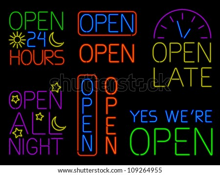 Collection of eight neon OPEN signs isolated on black