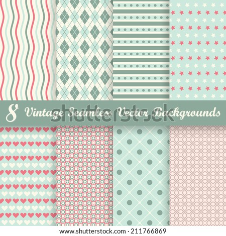 collection of eight seamless vintage backgrounds vector - stock vector