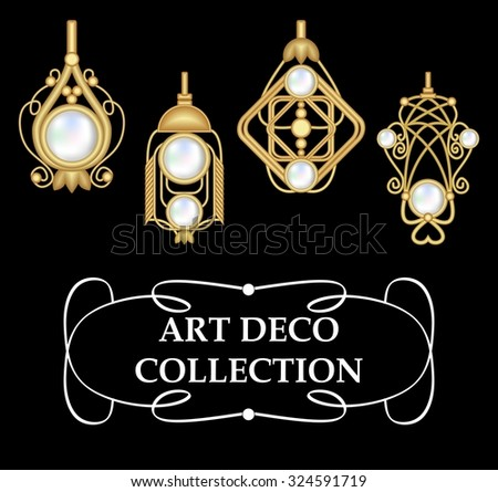 Collection of elegant gold earrings with pearls art deco. Golden pendant set with pearl. Vintage jewelry in victorian style. Symmetric classic design, jewel for festive occasions.  - stock vector
