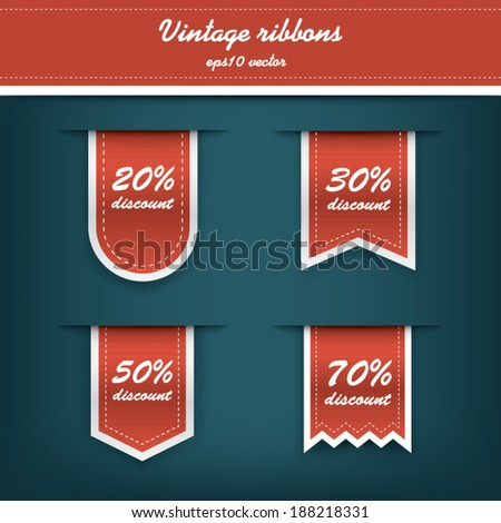 Collection of elegant vertical tags for sales and discounts promotions. Eps10 vector illustration - stock vector