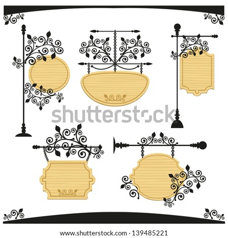 Collection of empty wooden signboards - stock vector