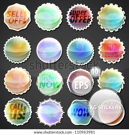 Collection of eps10 round vector stickers in 16 different shape variations textured as colorful glossy glass bubbles