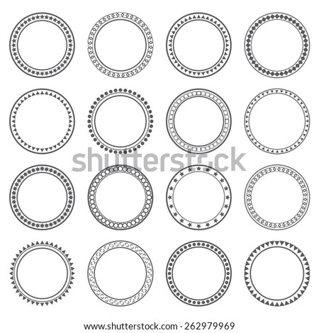 Collection of ethnic borders. Round frames. Decoration elements. Vector illustration - stock vector