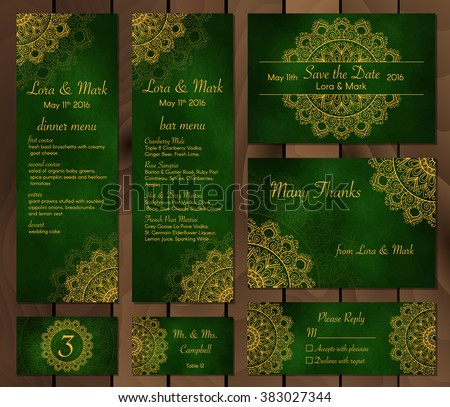 Collection Ethnic Cardsmenu Wedding Invitations Indian Stock Vector