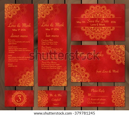 Collection of ethnic cards,menu or wedding invitations with indian ornament. Vintage decorative round elements and lace frame. Hand drawn background. Islam, Arabic, Indian, Pakistan motifs.