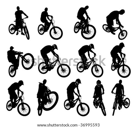 Collection of 13 extreme bicycle vector - stock vector