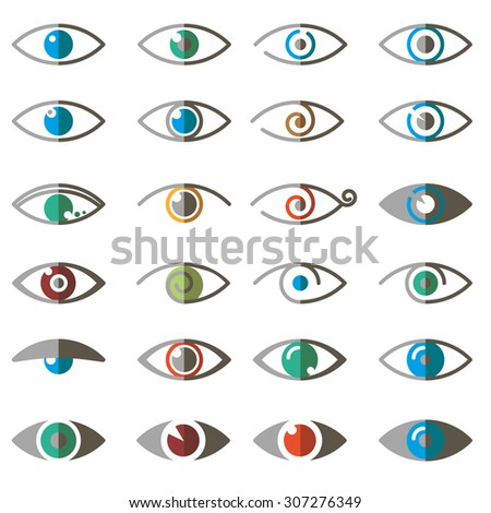 Collection of eyes icons and symbols - logo design. Vector illustration - stock vector