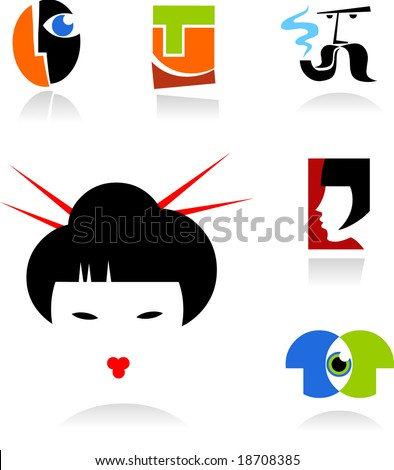 collection of face icons - for additional works of this kind  please visit my gallery - stock vector