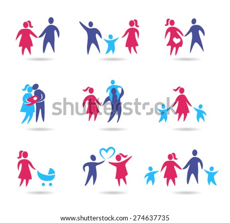 Collection of family icons - young couple in a relationship and with kids.