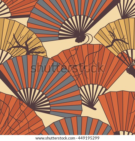 Collection of fans hand drawn seamless pattern. Doodle colorful backdrop with icon set. Vector illustration with traditional accessories